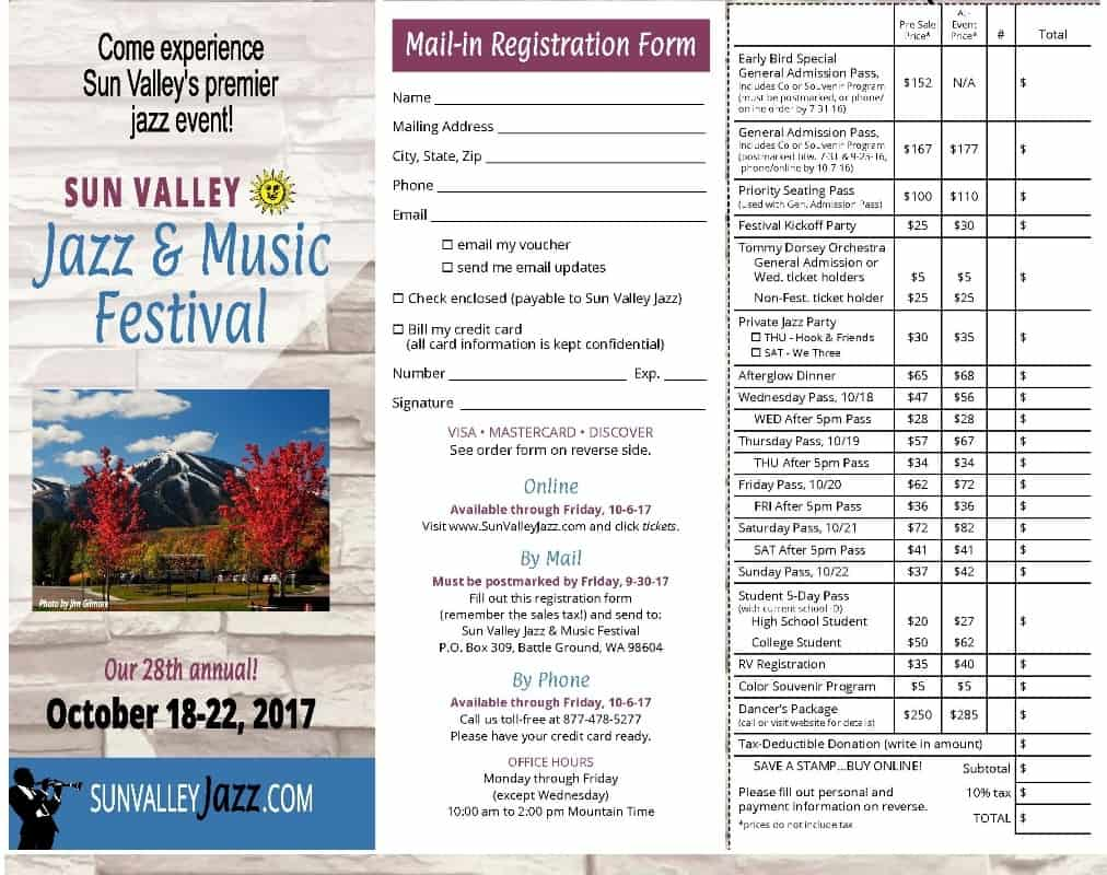 Sun Valley Jazz Brochure 2017